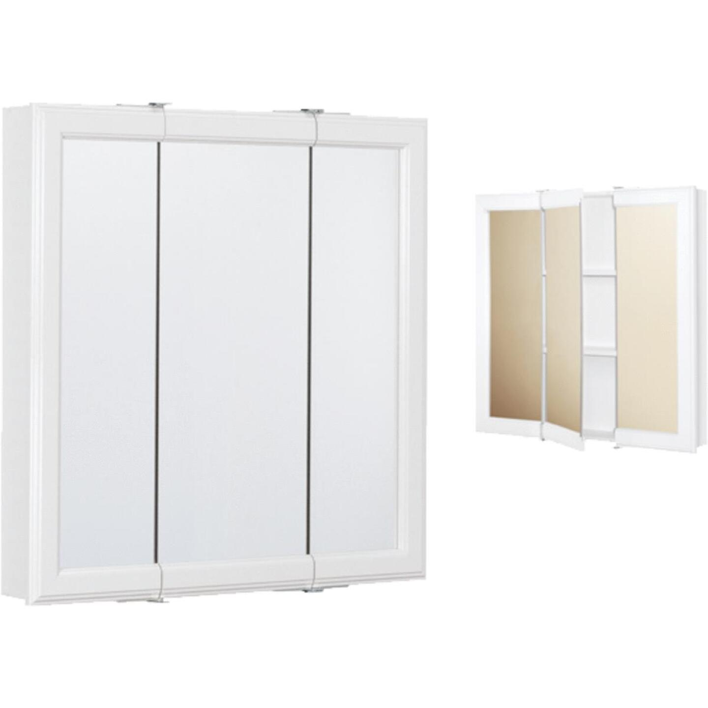 Continental Cabinets White 30 In. W x 28-3/4 In. H x 4-1/2 In. D Tri-View Surface Mount Medicine Cabinet Image 1