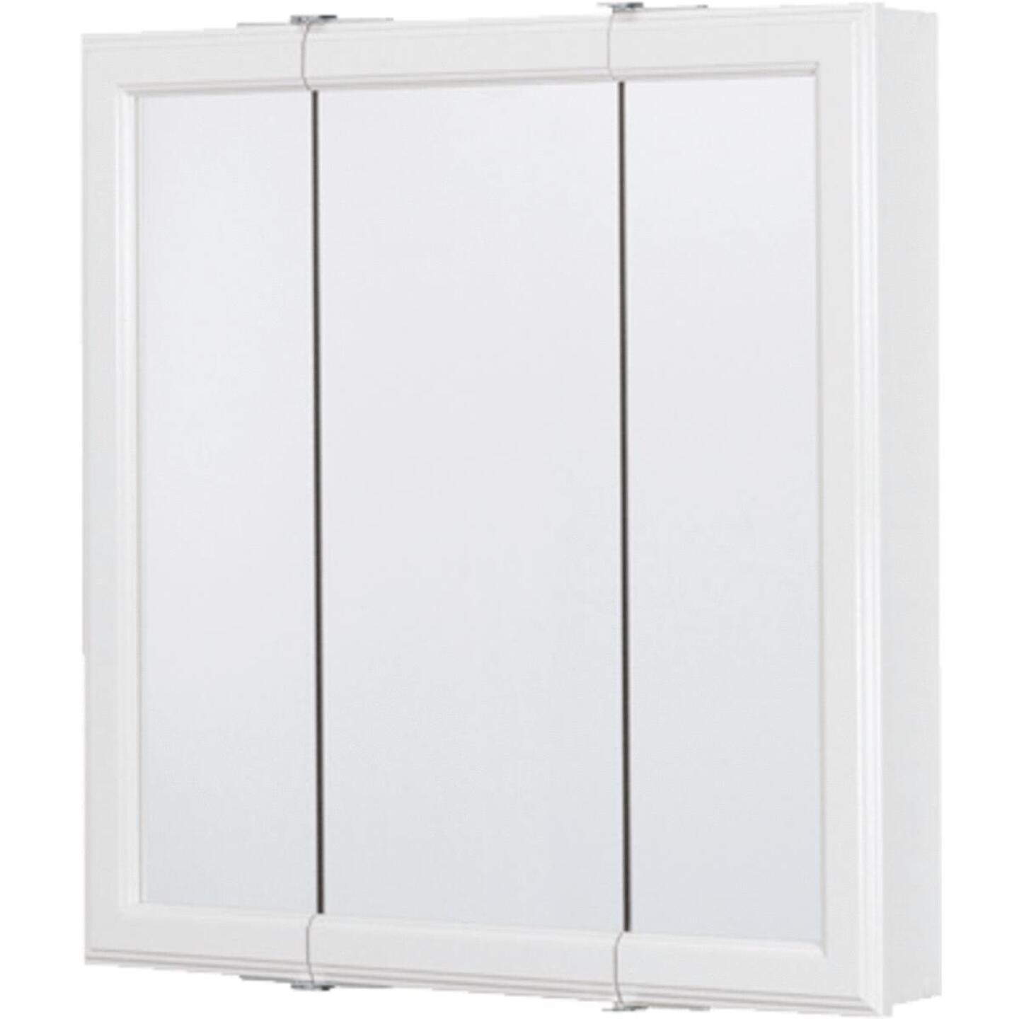 Continental Cabinets White 30 In. W x 28-3/4 In. H x 4-1/2 In. D Tri-View Surface Mount Medicine Cabinet Image 3