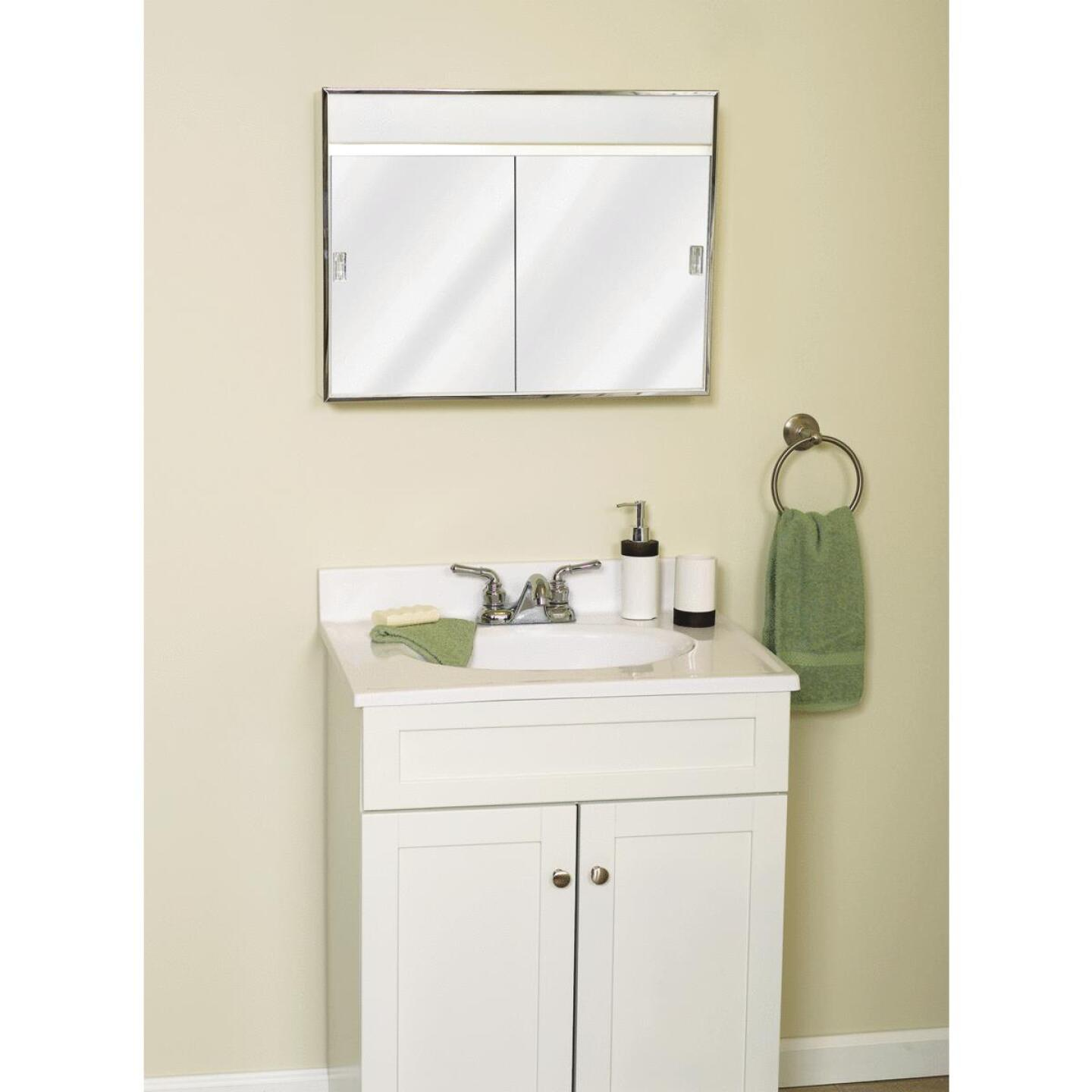 Zenith Stainless Steel 23.5 In. W x 18.5 In. H x 5.5 In. D Bi-View Surface Mount Lighted Medicine Cabinet Image 2