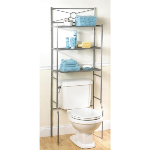 Zenith Spacesaver Satin Nickel Over-the-Toilet Shelf Cabinet, 3 Shelf
