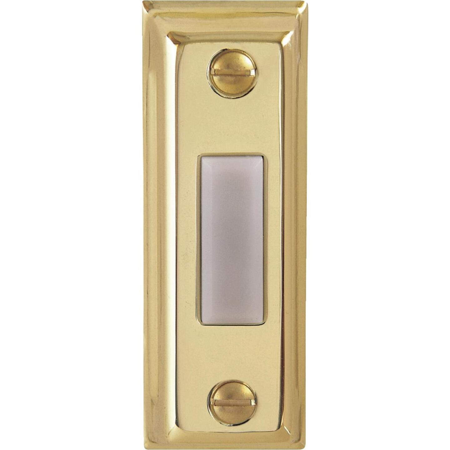 IQ America Wired Polished Brass Rectangular Design Lighted Doorbell Push-Button Image 1