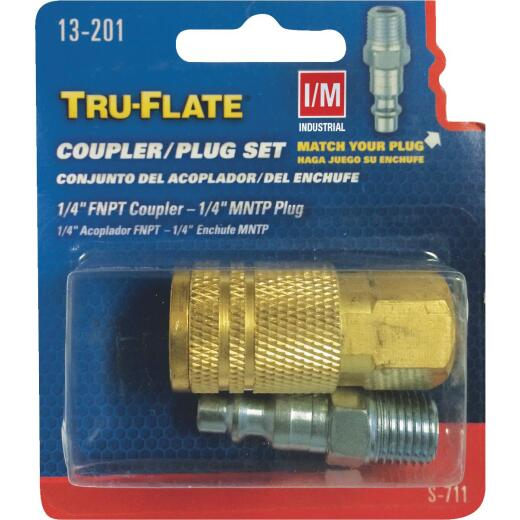 Tru-Flate Industrial/Milton Steel-Plated Coupler & Nipple Set